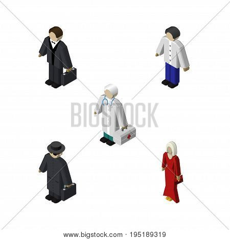 Isometric Person Set Of Investor, Medic, Male And Other Vector Objects. Also Includes Hospital, Female, Medic Elements.