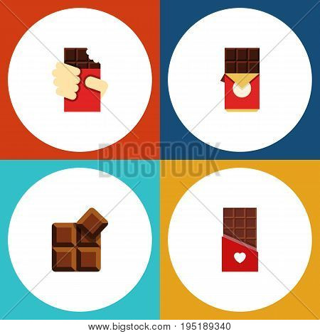Flat Icon Sweet Set Of Cocoa, Chocolate Bar, Shaped Box And Other Vector Objects. Also Includes Shaped, Bitter, Cocoa Elements.