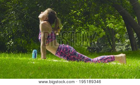 Young woman doing yoga exercises in the park. Artha mukha svanasana