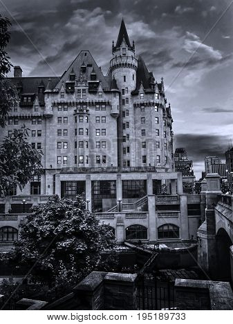 Spectacular skies above the Fairmont Chateau Laurier building in the heart of Canadian capital Ottawa city.