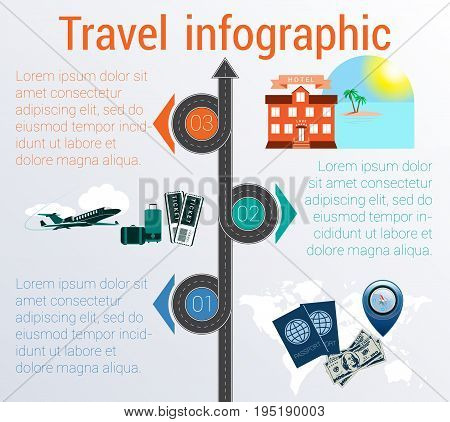 Tourism and travel concept infographic. Template 3 positions. Motorway passports visa stamp card point syringe medical set dollarssuitcase tickets jet hotel island palm sea sun sky