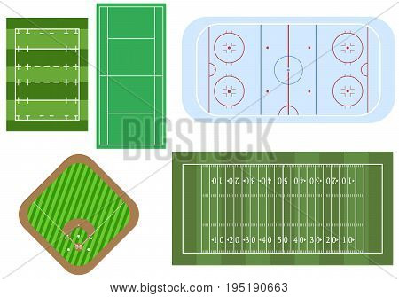 Set of sport games fields for top view. Football and ragby fields hockey playground baseball stadium and tennic court in vector.