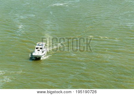 Serbian river police boat patrolling on the Danube river. July - 13. 2017. Novi Sad, Serbia. Editorial image.