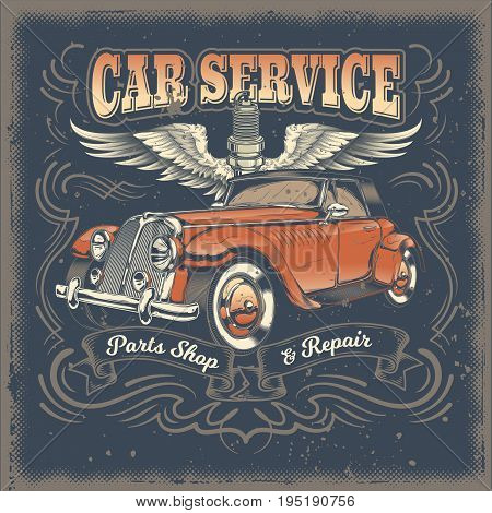 Vector vintage illustration, poster with of red retro car in engraving style. Template, design element for advertising retro car service center, spare parts shop and repair shop