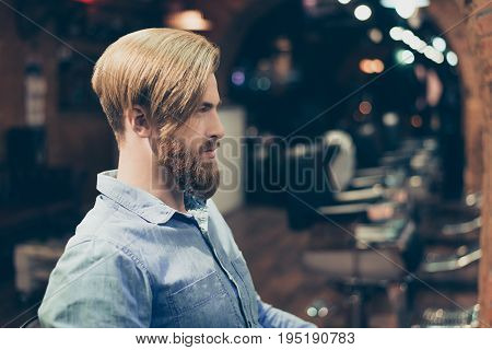 Profile Portrait Of Harsh Stylish Red Bearded Man In A Barber Shop. His Hairstyle Is Spectacular And