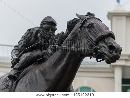 Louisille United States: May 4th 2017: Barbaro Statue and Jockey Close Up