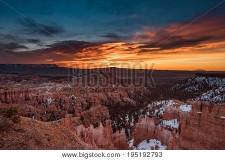 Blue And Orange Skies Over Bryce