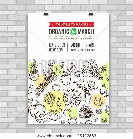 Poster with vegetables and greens, organic foode. Perfect design for farm market advertising, farming industry and bio product business. Modern identity for bio products and agriculture.