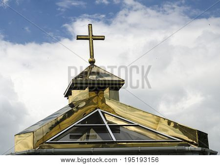 Orthodox church golden dome with a cross Christian symbolics