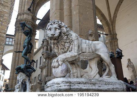Lion statue in the Loggia della Signoria Florence