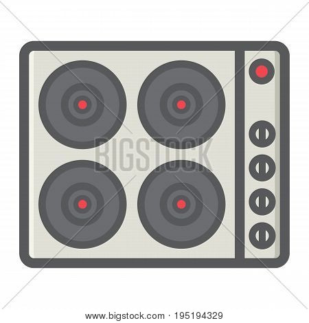 electric hot plate colorful line icon, electrical stove and appliance, vector graphics, a filled pattern on a white background, eps 10.