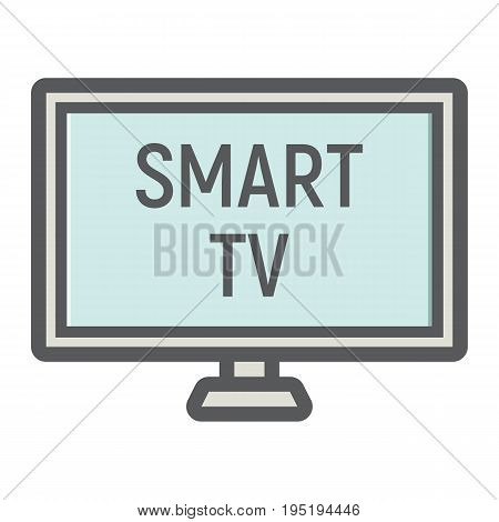 Smart TV colorful line icon, household and appliance, vector graphics, a filled pattern on a white background, eps 10.