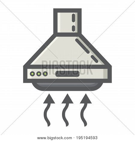 Extractor hood colorful line icon, kitchen and appliance, vector graphics, a filled pattern on a white background, eps 10.