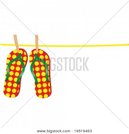 Slippers on a rope - an illustration for your design project.