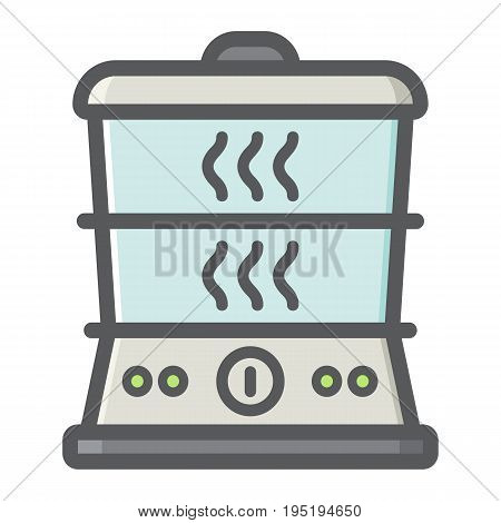 Food Steamer colorful line icon, kitchen and appliance, vector graphics, a filled pattern on a white background, eps 10.