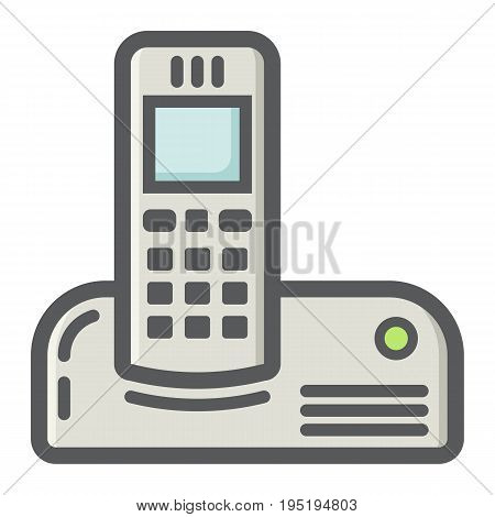 Wireless telephone colorful line icon, household and appliance, vector graphics, a filled pattern on a white background, eps 10.