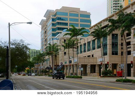 FORT LAUDERDALE, FL, USA - DEC. 26, 2014: Fort Lauderdale downtown skyline on East Las Olas Boulevard, Florida, USA.