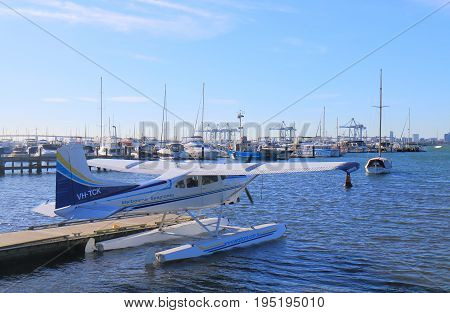 MELBOURNE AUSTRALIA - JULY 1, 2017: Sightseeing seaplane moored in Williamstwon.