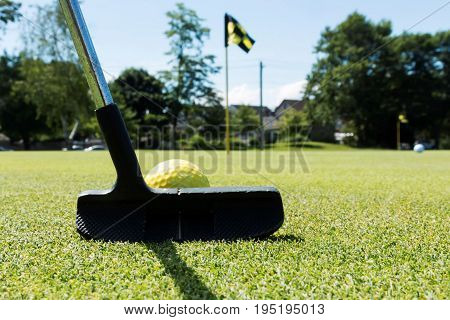 A black putter is about to hit a yellow ball on a practice green with black and yellow flags marking the holes