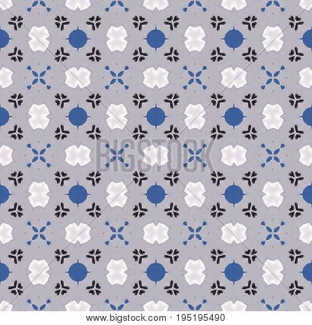 Grey and blue seamless motley ornaments spotted pattern