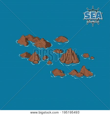 Brown reefs on a blue background. Underwater rocks in isometric style. 3d illustration. Pirate game. Vector illustration