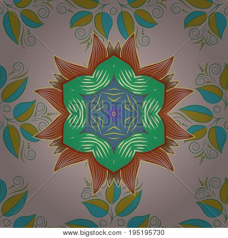 Vector Round Ornament Pattern. Spiritual and ritual symbol of Islam Arabic Indian religions. Geometric circle element in glod colors. Mandala on colorful background.