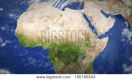 Africa. Shaded Relief Map With Boundaries. 3D Illustration