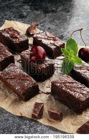 Homemade Chocolate Brownies On Grey Vintage Background, Chocolat
