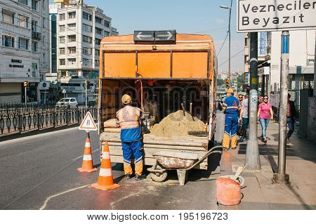 Istanbul, July 11, 2017: Road cone on the road. Road sign. Road works on the streets of Istanbul in Turkey. Sign.