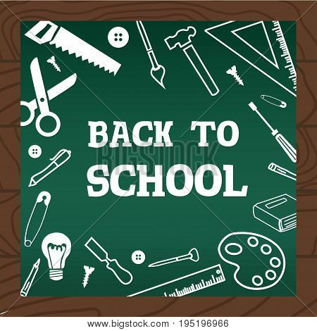 Chalkboard Wooden Background School Art And Handcraft Icons Vector Illustration.