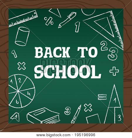 Chalkboard Wooden Background School Math Icons Vector Illustration.