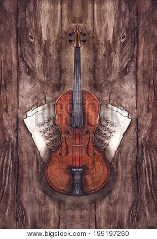 Watercolor vintage violin fiddle musical instrument with music notes on wooden texture background
