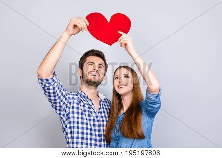 True Love, Trust, Friendship, Happiness, Feelings, Tenderness. Two Young Cute Lovers Are Looking At