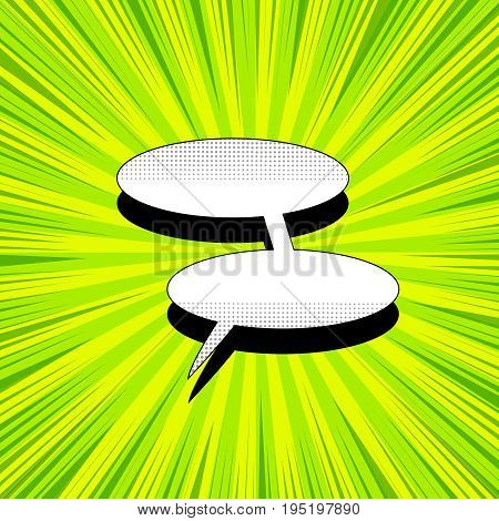 Comic book page template with blank white double speech bubble, halftone effects and rays on green radial background. Vector illustration