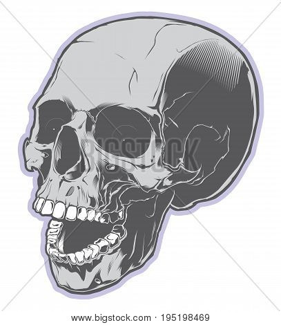 Angry skull with open mouth. Design element