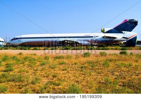July 12, 2017 in Victorville, CA:  Commercial airliner 727 aircraft scraped for parts taken at the Victorville Airport Boneyard which is a graveyard for forgotten airliner aircraft and where people can view the historical aircraft taken in Victorville, CA