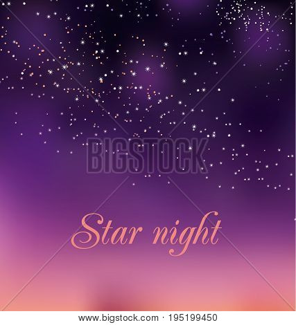 romantic night gradient background. vector illustration of pink rosy elegant star sky