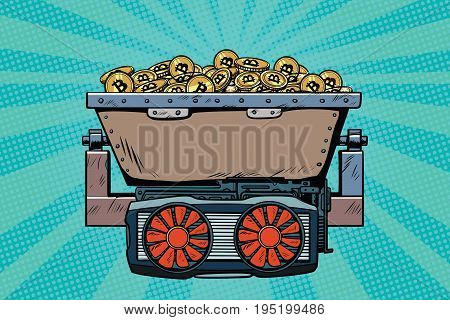 mining trolley with cryptocurrency bitcoin. Pop art retro comic book vector illustration