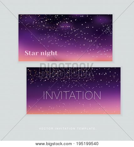 night stars space background. vector illustration of light festive sky
