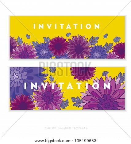 chrysanthemum flower card template design.  aster floral decorative vector illustration. fall blossom ion yellow background. autumn flowers rustic peasant style element