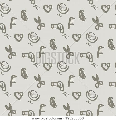 sketch beauty style icon seamless pattern. feminine hand drawn symbols of style and makeup. vector illustration