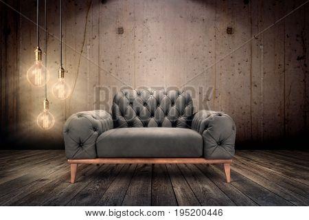 Underground Interior -Luxury armchair in underground ambient