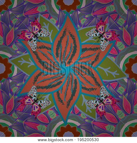 Flat Flower Elements Design. Cute flower vector pattern. Colour Spring Theme seamless pattern Background. Flowers on colorful background.