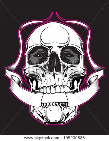 Skull with heraldic ribbon on black background
