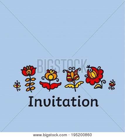 decorative style flowers. childish hand drawn image. sketch vector illustration