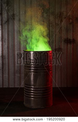 Post-apocalyptic background with old rusty barrel and green toxic smoke