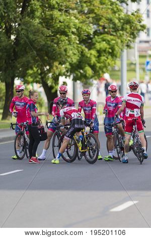 Minsk Belarus-July 8 2017: Professional Road Cycling Team Celebrates its Victory in International Road Cycling Competition Grand Prix Minsk-2017 on July 8 2017 in Minsk Republic of Belarus.