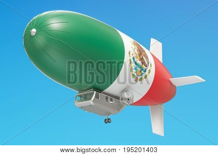 Airship or dirigible balloon with Mexican flag 3D rendering
