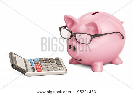 Piggy bank wearing eyeglasses with calculator 3D rendering isolated on white background