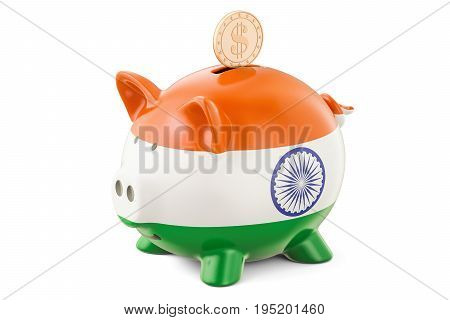 Piggy bank with flag of India and golden dollar coin. Investments and business concept 3D rendering